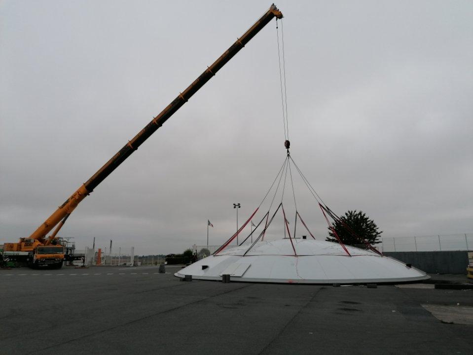 Etude, fabrication et pose de coupole de 20m de diamètre.